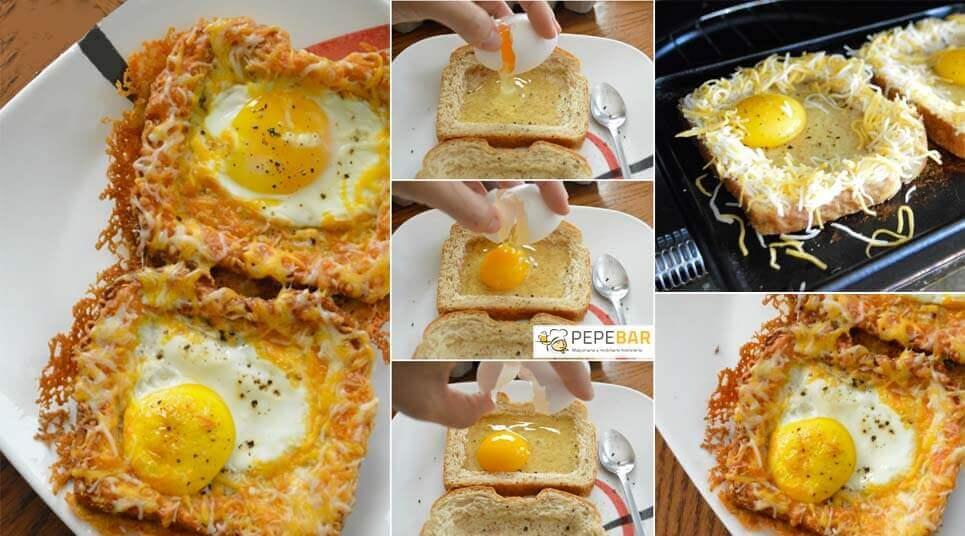 receta tostada con huevo queso