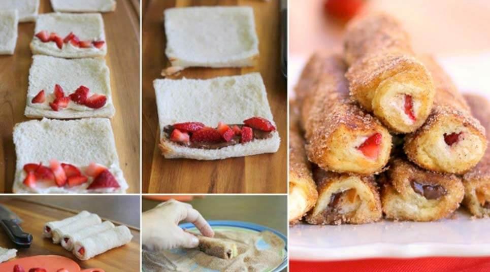 rollitos de canela y fresas