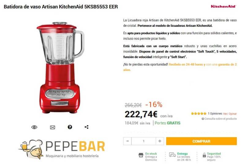 batidora de vaso kitchenAid oferta