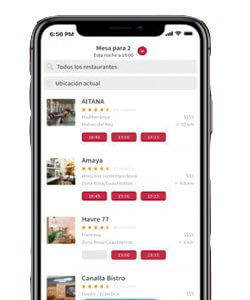 Aplicaciones para restaurantes; OpenTable