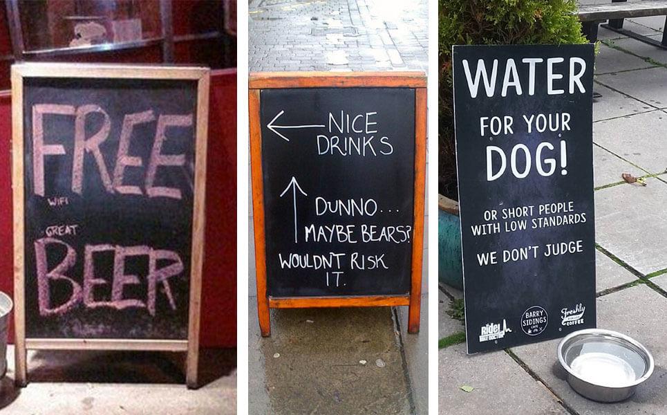 Mensajes pizarra bar