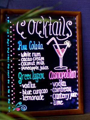 Pizarra bar led